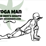 Yoga Man, the yoga superhero cartoon, is doing the yoga lunge and it looks great with his great Movember mustache.