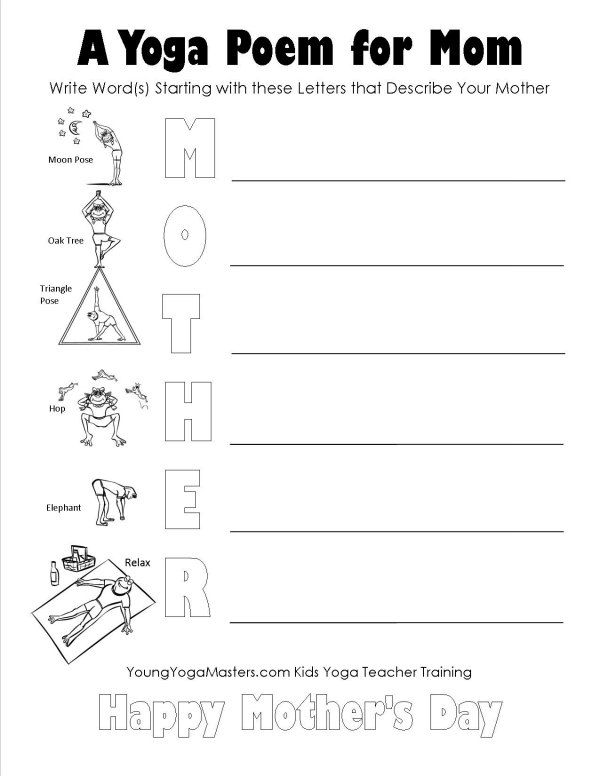 Mothers day poems for kids to write free mother s day yoga printable