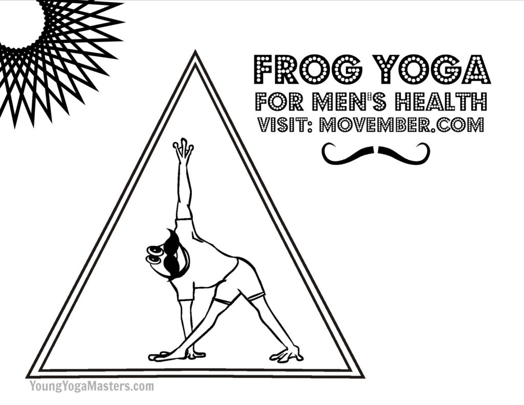 The cartoon frog is doing Triangle Yoga pose with a big black mustache under his nose.